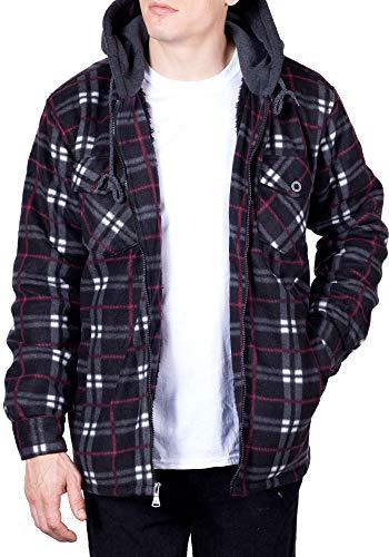 Walnut Creek Mens Flannel Hoodie Jackets for Men Zip Up Fleece Sherpa Lined Shirt XL Chili