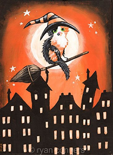 The Little Calico Witch - Original Halloween Cat Folk Art Painting