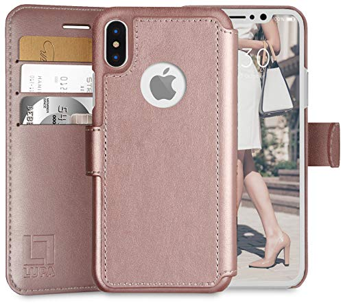 LUPA iPhone X Wallet Case -Slim & Lightweight iPhone X Flip Case with Credit Card Holder - iPhone 10 Wallet Case For Women & Men - Faux Leather i phone Xs Purse Cases with Magnetic Closure - Rose Gold