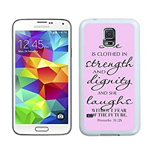 Slim TPU Phone Case for Samsung Galaxy S5 Soft Rubber Silicone S5 White Cover Bible Quote Proverbs Pink Background Kimberly Kurzendoerfer