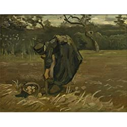 High Quality Polyster Canvas ,the Cheap But High Quality Art Decorative Art Decorative Prints On Canvas Of Oil Painting 'Vincent Van Gogh,Peasant Woman Digging Up Potatoes,1885', 12x16 Inch / 30x40 Cm Is Best For Living Room Gallery Art And Home Gallery