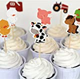 Bilipala Farm Zoo Animal Cake Cupcake Appetizer Decorations Toppers Picks, 24 Counting