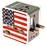 TravelMore Universal International AC Power Electrical Wall Plug Adapter with 2 USB Ports