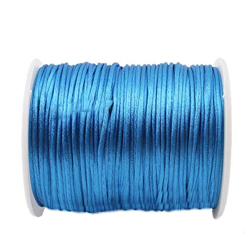 Promise Babe 75m Blue Satin Nylon Cord 1mm DIY Making Accessories Baby Jewelry Making Teething Nursing Necklace Line