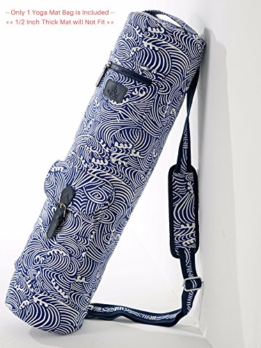 Yoga Mat Bag - Fit Most of The Mat Except 1/2 Inch Thick Mat - Plus Extra Room to Fit Additional Small Necessities (Ocean Wave)