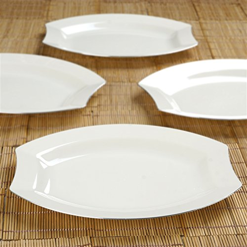 Ivory W/ Silver Edge 10.5 Inch Crescent Oval Shaped Disposable Plate - Chambury Plastics