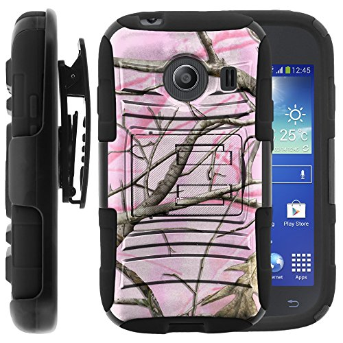 Samsung Galaxy Ace Style Case, Samsung Galaxy Ace Style Holster, Two Layer Hybrid Armor Hard Cover with Built in Kickstand for Samsung Galaxy Ace Style S765C SM-G310 from MINITURTLE | Includes Screen Protector - Pink Hunter Camouflage