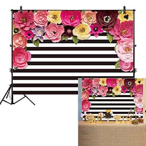(Allenjoy 7x5ft Black and White Stripe Backdrops Pink Paper Flower Banner Birthday Graduation Wedding Mother's Day Retirement Bachelor Party Decoration Bridal Baby Shower Photo Studio Booth Background)