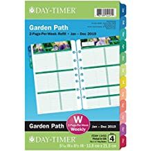 """Day-Timer Refill 2019, Two Page per Week, January 2019 - December 2019, 5-1/2"""" x 8-1/2"""", Loose Leaf, Desk Size, Garden Path (13493)"""