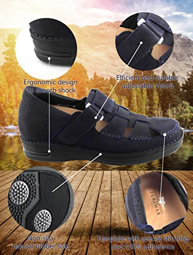 Sandali Sandali Pelle Sandali in Uomo Zerimar 7 Trekking Escursionismo Uomo di cm Sandali da Interno Blu Marino da Uomo di da Aumentato Sandali per HXa8Xq