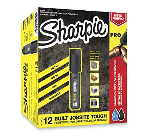 Sharpie Pro Permanent Marker, Medium, Chisel Tip, Black, 12-Count Marker (2018326)