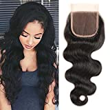 Body Wave Free Part 4×4 Lace Closure Virgin Brazilian Hair 130% Density Natural Color 10 Inch