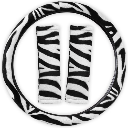 zebra print steering wheel cover - 2