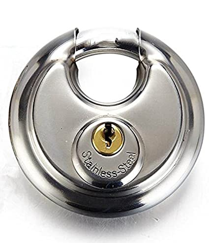 d58df34089df Trisonic Ultra Protective Disc Padlock, Heavy Duty Round Padlock with  Shielded Shackle, Stainless Steel Keyed Lock, 2-3/4-inch