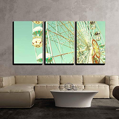 Postcards Framed Art Wall Decor - wall26 - 3 Piece Canvas Wall Art - Vintage Ferris Wheel Over Turquoise Sky - Modern Home Decor Stretched and Framed Ready to Hang - 16
