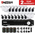 TMEZON HD 720P 16 Channel AHD Security System with 16x 1.3MP Cameras 130ft Night Vision 2.8-12mm Zoom Lens Outdoor Video Surveillance DVR Kits NO HDD