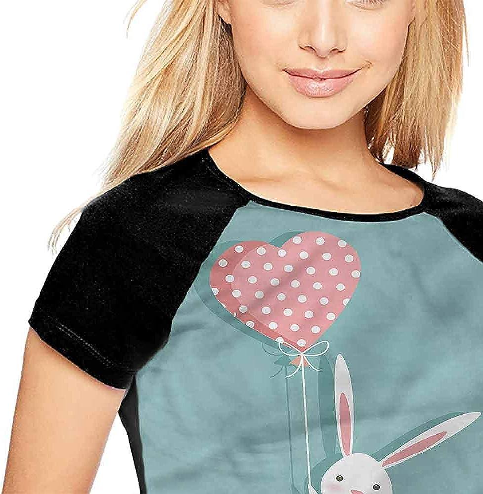 Mangooly Raglan Sleeve Baseball Tshirt,Cute,Bunny Holding a Heart Balloon S-XXL Baseball Short Sleeve