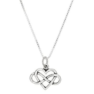 Amazon Sterling Silver Oxidized Heart With Infinity Symbol