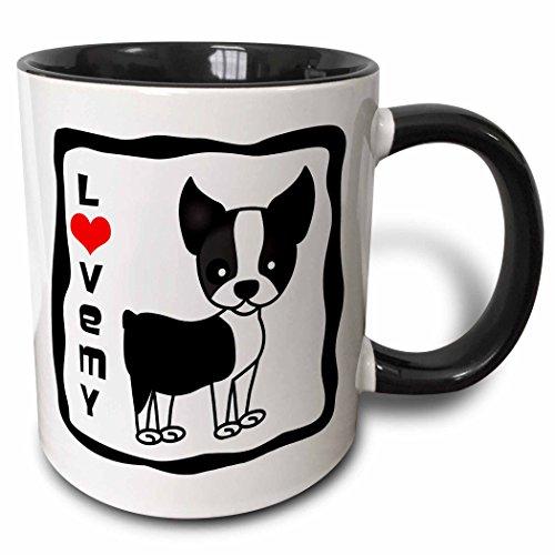 3dRose 12084_4 I I Love My Boston Terrier - Two Tone Black Mug 11 oz Multicolor