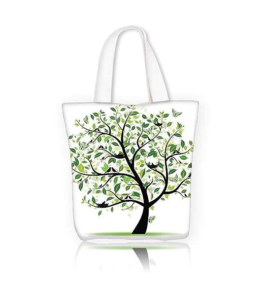 Bolsa de lona con diseño de árbol de primavera verde con ...