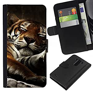 LG G3 D855 D850 D851 , la tarjeta de Crédito Slots PU Funda de cuero Monedero caso cubierta de piel ( Tiger Sleepy Big Cat Cute Animal Nature)