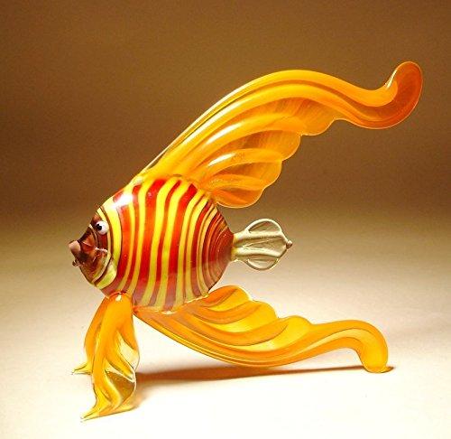 Orange with Stripes Glass Angel Fish Figurine