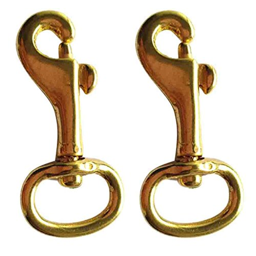 MonkeyJack 2 Pcs 3/4 Inch by 2-1/5 Inch Brass Swivel Eye Bolt Snap Hook Carabiner Spring Clip Key Ring for Scuba Diving Leather Craft Pet Leash