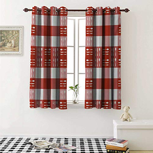 shenglv Checkered Drapes for Living Room Cutlery Silhouettes on Squares Dining Picnic Tile Spoons Forks Knives Curtains Kitchen Window W96 x L72 Inch Coral Dark Coral White