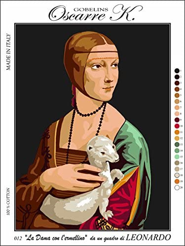 Needlepoint Kit Lady with an Ermine 19.3x15 49x38cm Printed Canvas cod K12