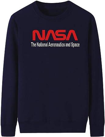 YHXF Moda NASA Camisa con Logo Estampado Sudadera con Capucha Sudadera con Estampado gráfico Manga Larga Cuello Redondo Tops Algodón Blusa sin Bolsillo,D,XXL: Amazon.es: Hogar