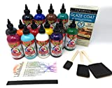 Unicorn SPiT Bundle - All 14 Colors (8oz Bottles), 1 Quart Famowood Glaze, 3 Foam Brushes, Reference Card