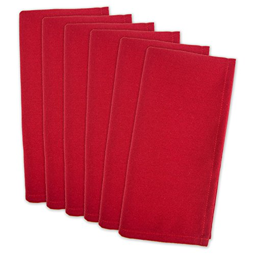 DII 100% Polyester, Machine Washable, Holiday, Dinner Solid Napkins 20x20' - Red