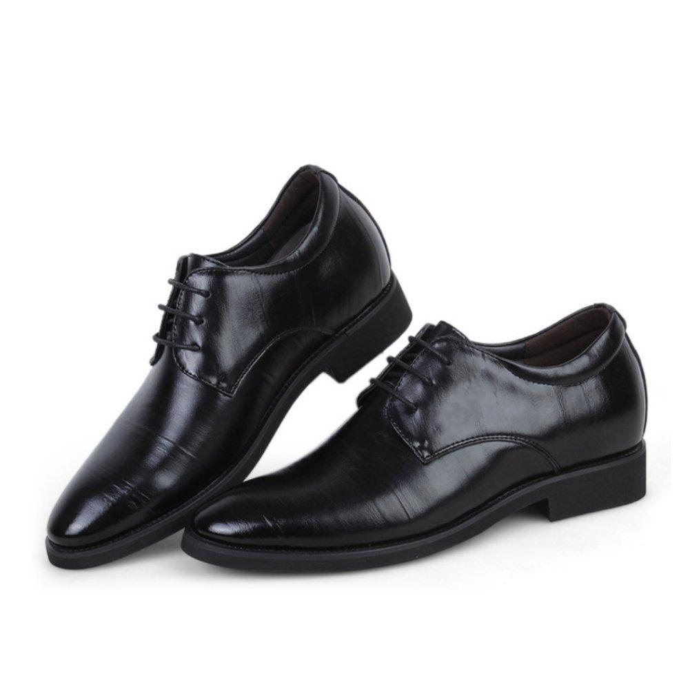 LYZGF Hombres Caballeros Negocios Casual Moda Mediana Edad Encaje Zapatos De Cuero,Black-41 41|Black