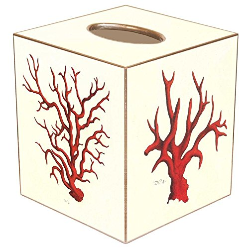Red Coral Paper Mache Tissue Box Cover
