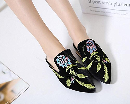 Women Flats Shoes GLTER Shoes Mules Flowers Orange Slippers Toe Low Toe Black Black Closed Embroidery Pumps Heel Pointed BqFvd