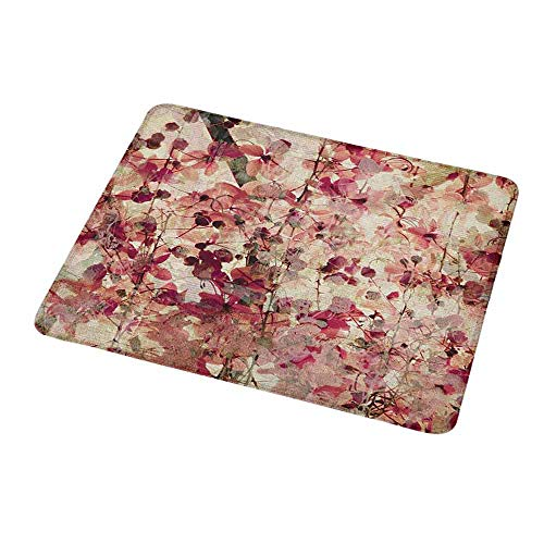 Natural Rubber Mouse Pad Antique,Grungy Effect Cherry Blossoms on Ribbed Bamboo Retro Background Floral Art Work,Pink Beige,Standard Size Rectangle Non-Slip Rubber Mousepad 9.8