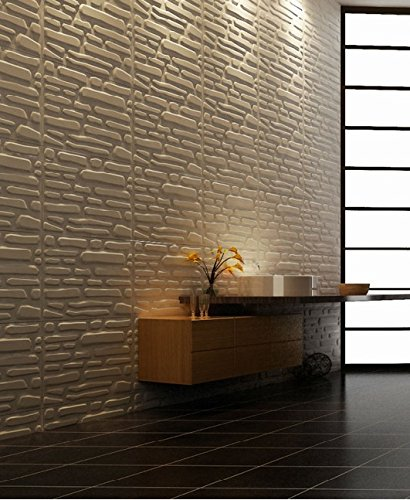 Easy Peel And Stick, Durable Plastic 3D Wall Panel - SLATE Design. 12 Panels. 32 SF