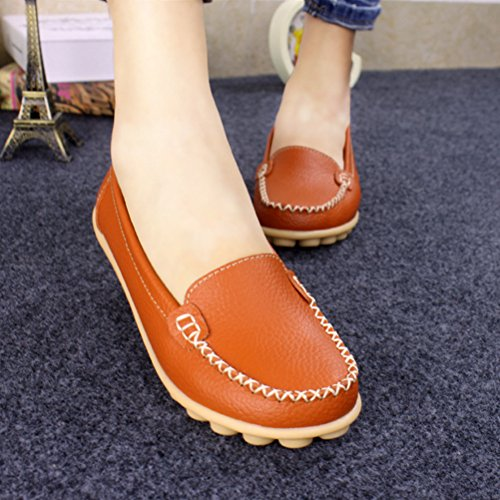 Khaki ANBOVER Flat Loafers Slip Shoes Casual Womens Leather Driving on OOqnrzPwU
