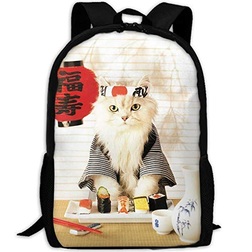 (Harajuku Style Sushi Cat Japanese Cute Funny Kitten Travel Backpack, Water Resistant Durable College School Backpack with Anti Theft Pocket for Women & Men, Lightweight Laptop Bookbag)