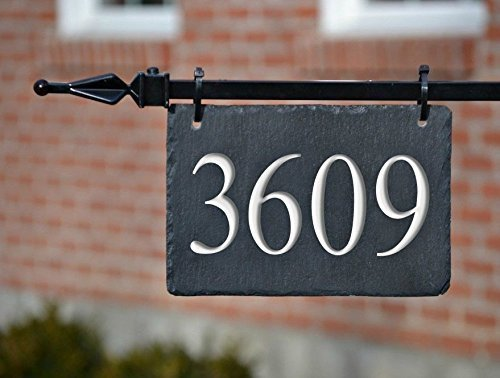 Metal Plaque Artistic - HANGING HOUSE NUMBERS CARVED SLATE/Stone Address Plaque Marker Lampost Lamppost Mailbox #3H