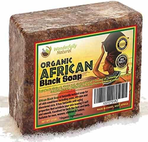 Wonderfully Natural African Black Soap Bar | 100% Organic 1lb | Black soap Acne Treatment | Eczema Natural Soap | 60 day Satisfaction Guarantee