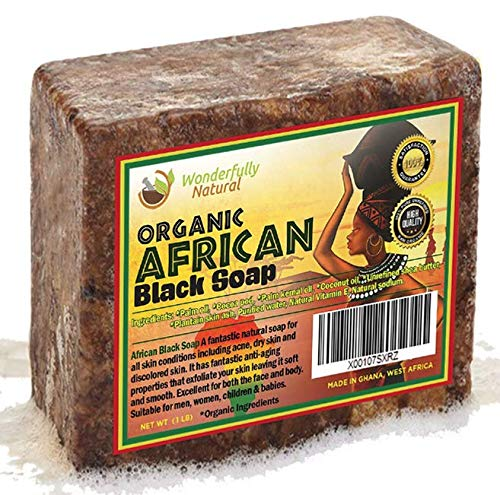 African Black Soap 1lb Bar | #1 Acne Treatment | Eczema Soap | 60 day Satisfaction ()
