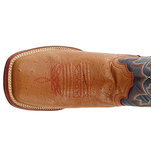 Men's Ferrini Western Boot Brown Square Ostrich Smooth Toe Cognac 14Wnq4wHf