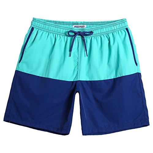 MaaMgic Mens Boys Short Swim Trunks 7 Inches Mens Bathing Suits Slim Fit Swim Shorts Swimsuits for Men Green-Blue