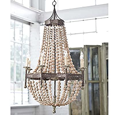 "Iron Frame & Wooden wood beads Pendant Chandelier Lamp 8 Lights H50"" X W32"" Large Fixture Rustic Iron"