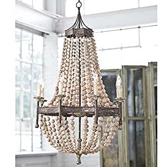 """Iron Frame & Wooden wood beads Pendant Chandelier Lamp 8 Lights H50"""" X W32"""" Large Fixture Rustic Iron"""