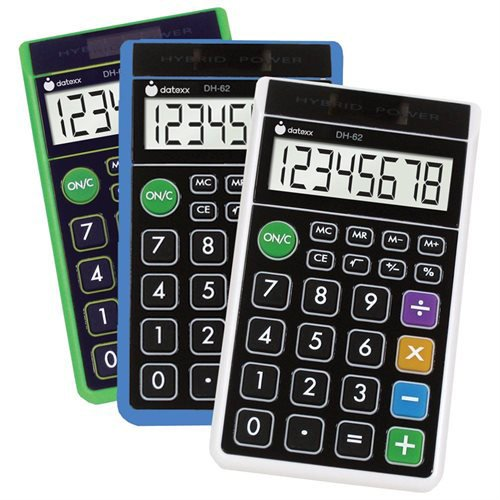 Datexx DH-62 Hybrid Wallet Style Calculator Assorted Colors by Datexx