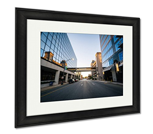 Ashley Framed Prints Modern Buildings And Friendly Avenue In Downtown Greensboro No, Office/Home/Kitchen Decor, Color, 30x35 (frame size), Black Frame, - Friendly Center Greensboro