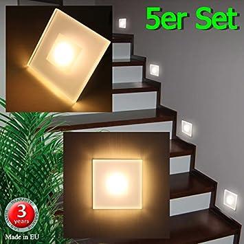 5er set led design warmweiß sun led max 3w 100x100mm glas alu ...