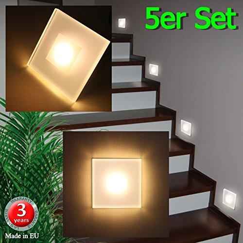 5er Set LED Design Warmweiß SUN-LED Max 3W 100x100mm Glas-Alu Hochwertig Treppenlicht Wand Stufen Treppen Beleuchtung
